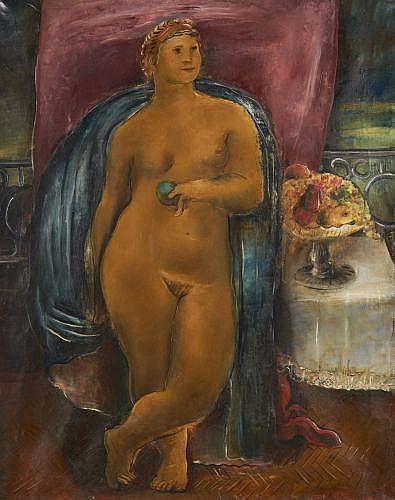 Sigmund MENKES (Lvov, 1896-New York, 1986) NU, 1924 Huile sur toile