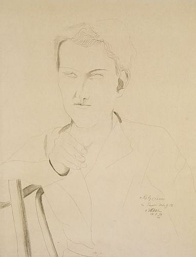 Ossip ZADKINE (Vitebsk, 1890- Paris, 1967) PORTRAIT DE JEUNE HOMME, 1934 Dessin à la mine de plomb sur papier