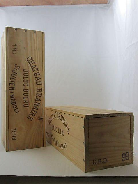 2 magnums 1 mag : CHÂTEAU BRANAIRE DUCRU 1999 4è GC Saint Julien Caisse bois d'origine