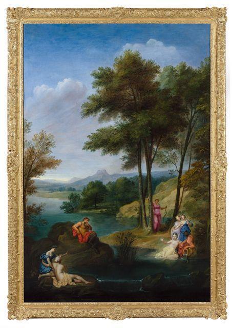 Bon Boullogne Paris, 1649 - 1717 Paysage avec Pan et Syrinx Huile sur toile