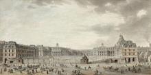 Jean-François Heurtier Paris, 1739 - Versailles, 1822 Vue animée de la cour du château de Versailles, vers 1760 Plume et encre noire...