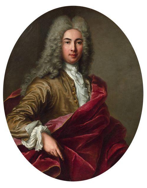 Attribué à Antoine Coypel Paris, 1661 - 1722 Portrait d''homme au drapé rouge Huile sur toile, de forme ovale