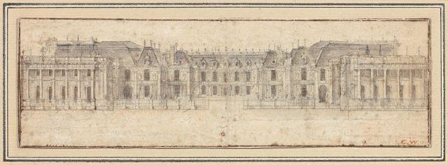 Ecole française du XVIIe siècle  Vue de la façade du château de Versailles du côté de la cour de marbre Crayon noir, lavis gris et t...