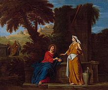 Attribué à François-Alexandre Verdier Paris, 1651 - 1730 Le Christ et la Samaritaine Huile sur toile