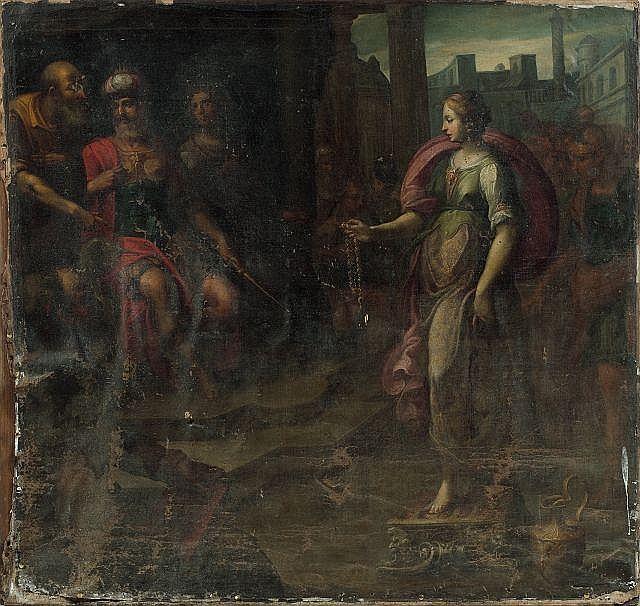Ecole française vers 1620  Scène de l'histoire ancienne Huile sur toile