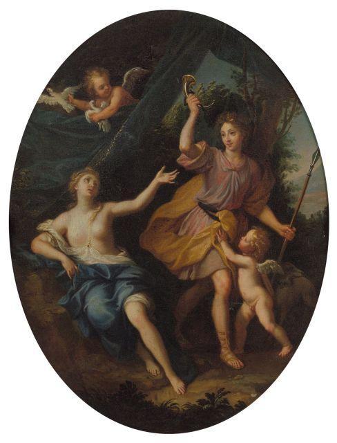 Louis de Boullogne le Jeune Paris, 1654 - 1733 Vénus et Adonis Huile sur toile, de forme ovale