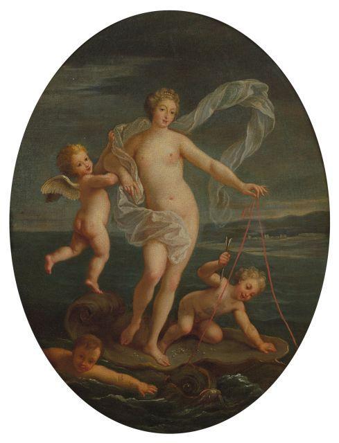 Bon Boullogne Paris, 1649 - 1717 La naissance de Vénus Huile sur toile, de forme ovale