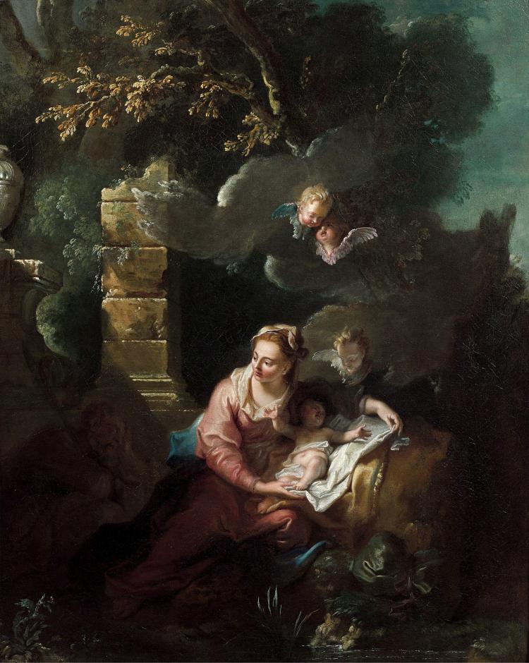 Jean-Baptiste Oudry Paris, 1686 - Beauvais, 1755 Le repos de la Sainte Famille pendant la fuite en Egypte Huile sur toile
