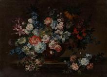Antoine Monnoyer Paris, 1677 - Saint-Germain-en-Laye, 1745 Vase de fleurs sur un entablement Huile sur toile
