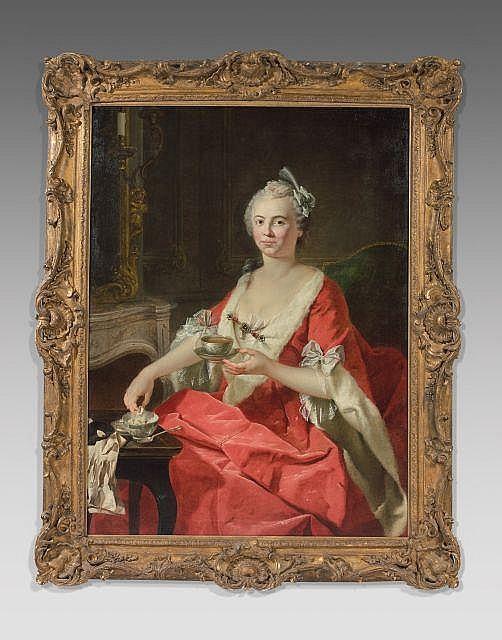 Ecole française du XVIIIe siècle  Portrait d'une dame de qualité prenant le thé Huile sur toile