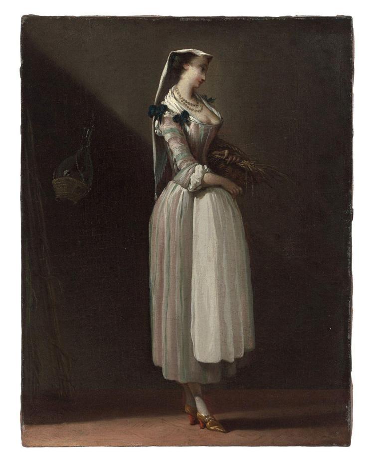 Jean Barbault Viarmes, 1718 - Rome, 1762 Paysanne de Frascati Huile sur toile (Toile d'origine)