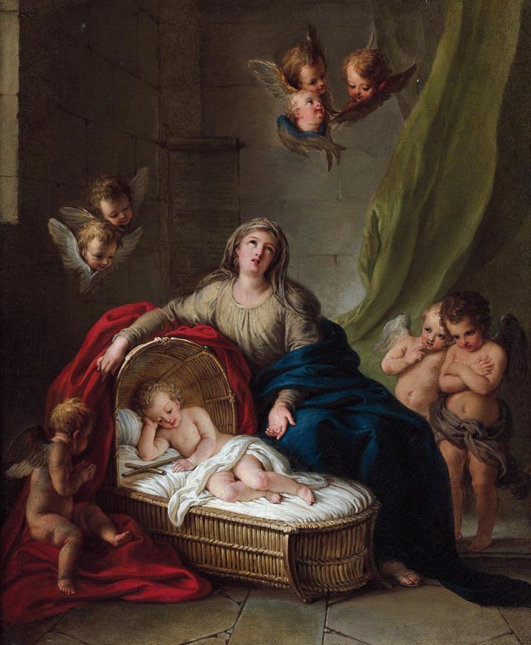 Charles-Antoine Coypel Paris, 1694 - 1752 La Vierge veillant sur le sommeil de l''Enfant Jésus Huile sur toile