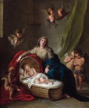 Charles-Antoine Coypel Paris, 1694 - 1752 La Vierge veillant sur le sommeil de l'Enfant Jésus Huile sur toile
