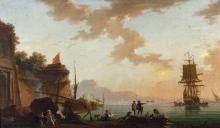 Charles-François Lacroix dit Lacroix de Marseille Marseille (?), vers 1700 - Berlin, 1782 Port méditerranéen au soleil couchant Huil...