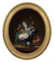 Jean-Louis Prévost Nointel, 1740 - Paris, 1810 Bouquet de fleurs dans un vase en porcelaine de Chine bleu monté en bronze doré Huile...