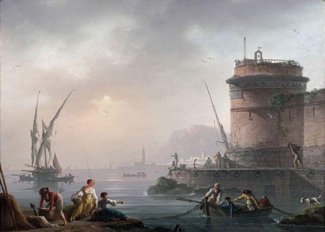 Charles-François Lacroix, dit Lacroix de Marseille Marseille (?), vers 1700 - Berlin, vers 1780 Port animé de personnages Huile sur...