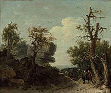 Jean-François Hue Saint-Arnoult-en-Yvelines, 1751 - Paris,1823 Vue présumée des rochers de Franchard en forêt de Fontainebleau Huile...