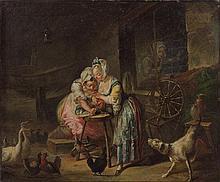 François Eisen Bruxelles, vers 1695 - Paris, après 1778 La Vieille et les deux servantes, d'après La Fontaine Huile sur toile