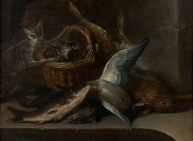 Nicolas-Henry Jeaurat de Bertry Paris, 1728 - (?), après 1796 Chat près d''un panier de coquillages, poissons et gibier Huile sur toi..