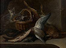 Nicolas-Henry Jeaurat de Bertry Paris, 1728 - (?), après 1796 Chat près d'un panier de coquillages, poissons et gibier Huile sur toi..