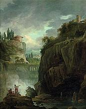 Hubert Robert Paris, 1733 - 1808 Paysage rocheux au pont et à la cascade animé de personnages Huile sur toile