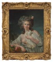 Louis-Roland Trinquesse Paris, 1746 - 1799 Jeune femme au panier de roses et à la colombe Huile sur toile