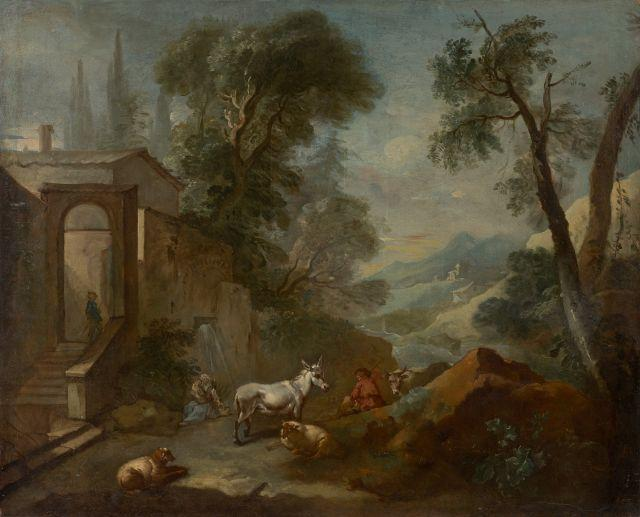 Charles-Joseph Natoire Nîmes, 1700 - Castel Gandolfo, 1777 Paysage fluvial animé de personnages Huile sur toile