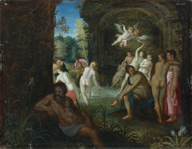 Attribué à Hans Rottenhammer (Munich, 1564 - Augsbourg, 1625) et Atelier de Jan Brueghel le Jeune Diane et Actéon Huile sur cuivre