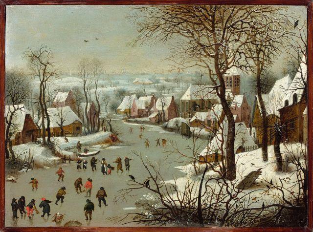 Jan Brueghel l''Ancien Bruxelles, 1568 - Anvers, 1625 Paysage d''hiver à la trappe aux oiseaux Huile sur cuivre