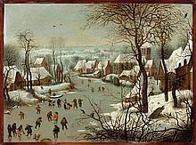 Jan Brueghel l'Ancien Bruxelles, 1568 - Anvers, 1625 Paysage d'hiver à la trappe aux oiseaux Huile sur cuivre