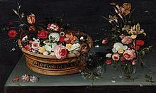 Jan Brueghel le Jeune et atelier Anvers, 1601 - 1678 Corbeille de fleurs et vase sur un entablement Huile sur panneau, parqueté