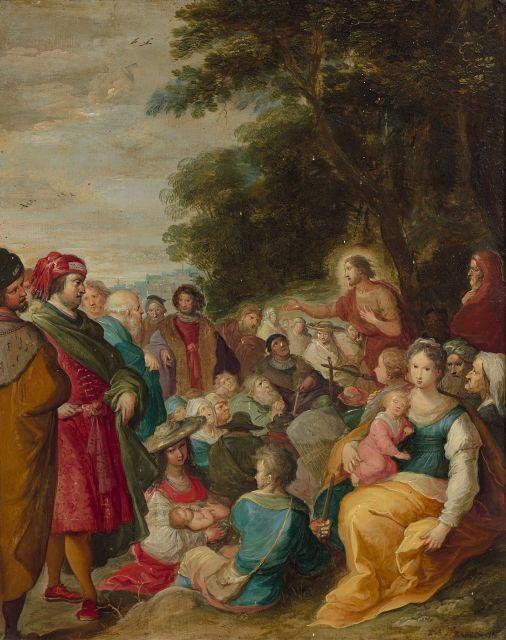 Frans Francken II et collaborateur Anvers, 1581 - 1642 La prédication de saint Jean-Baptiste Huile sur cuivre