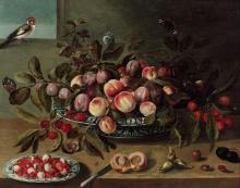 Ecole flamande du XVIIe siècle Entourage de Jacob van Hulsdonck Abricots, pêches et prunes dans un plat de porcelaine sur un entable...