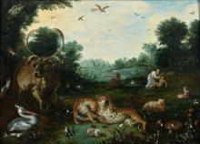 Attribué à Jacob Bouttats Actif en Flandres vers 1660-1720 La création d'Adam Huile sur panneau de chêne, une planche, parqueté