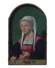 Pays-Bas du Nord, XVIe siècle Entourage de Jan van Scorel La femme du changeur Huile sur panneau, parqueté, de forme cintrée en part...
