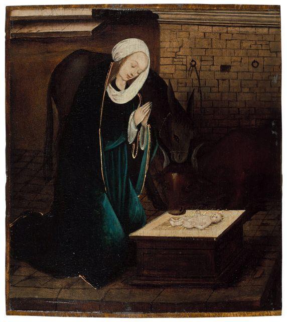 Ecole anversoise vers 1520 Entourage de Jan de Beer La Nativité Huile sur panneau de chêne, une planche (fragment)