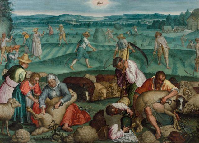 Attribué à Frans Floris Anvers, 1519 - 1570 Allégorie de l''Eté : le mois de juin Huile sur toile