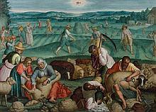 Attribué à Frans Floris Anvers, 1519 - 1570 Allégorie de l'Eté : le mois de juin Huile sur toile