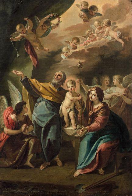 Ecole française vers 1760  La Sainte Famille entourée d'anges Huile sur toile (Toile d'origine)