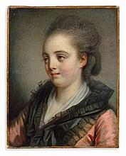 Jean-Baptiste Greuze Tournus, 1725 - Paris, 1805 Portrait de jeune fille à la robe rose Huile sur toile