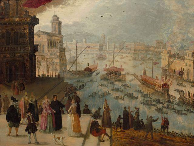 Louis de Caullery (?), vers 1580 - Anvers, 1621 Caprice vénitien, le Bucentaure devant la Piazzetta Huile sur panneau de chêne, deux...