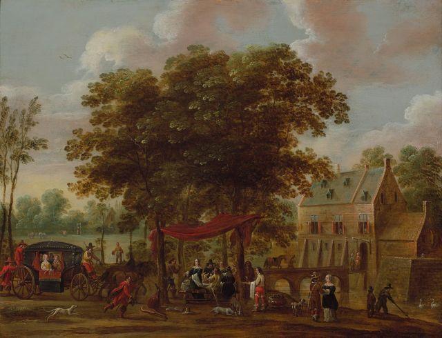 Pieter Meulener Anvers, 1602 - 1654 Scène de banquet sous de grands arbres Huile sur panneau de chêne, trois planches, renforcé