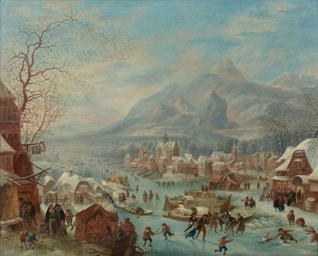 Robert Griffier Angleterre, vers 1675 - Amsterdam, après 1726 Paysage d'hiver animé de personnages Huile sur toile