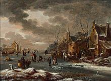 Attribué à Thomas Heeremans Haarlem, vers 1640 - 1697 Patineurs sur une rivière gelée Huile sur panneau de chêne, une planche