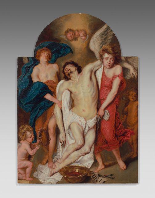 Attribué à Thomas Willeboirts-Bosschaert Bergen, 1614 - Anvers, 1654 Le Christ mort soutenu par les anges Huile sur panneau de chêne...