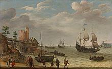 Abraham Willaerts Utrecht, vers 1603 - 1669 Retour de pêche sur un littoral Huile sur panneau de chêne