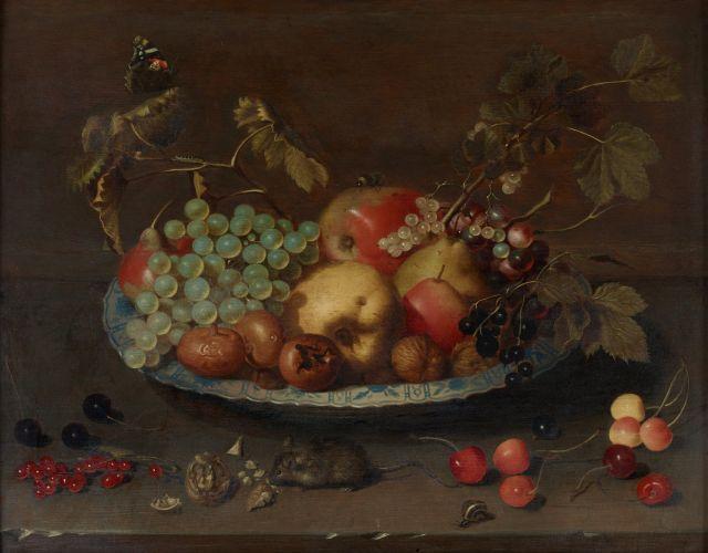 Johannes Bouman Strasbourg, 1601 - Utrecht, 1658 Coupe de fruits sur un entablement de pierre Huile sur panneau de chêne, parqueté