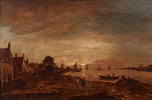 Aert Van der Neer Gorinchem, 1603 - Amsterdam, 1677 Estuaire au couchant animé de personnages Huile sur panneau de chêne parqueté