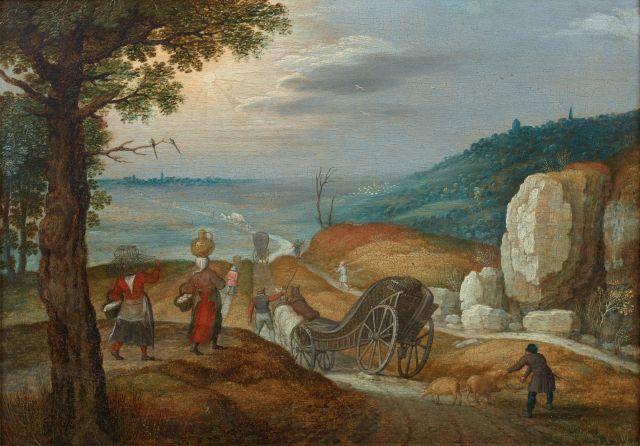 Marten Ryckaert Anvers, 1587 - 1631 Le départ pour le marché Huile sur panneau de chêne renforcé