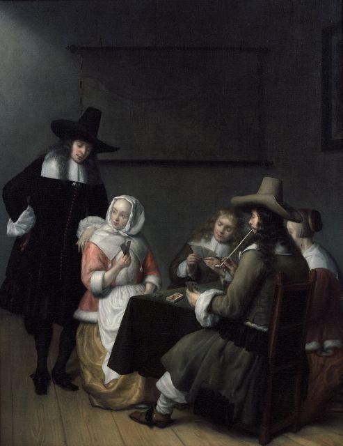 Abraham van Dyck Amsterdam, 1635 - Dordrecht, 1680 Joueurs de cartes dans un intérieur Huile sur toile